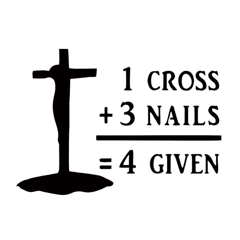 2018 Vinyl Decal Cross Nails Forgiven Christian Church Jesus Car