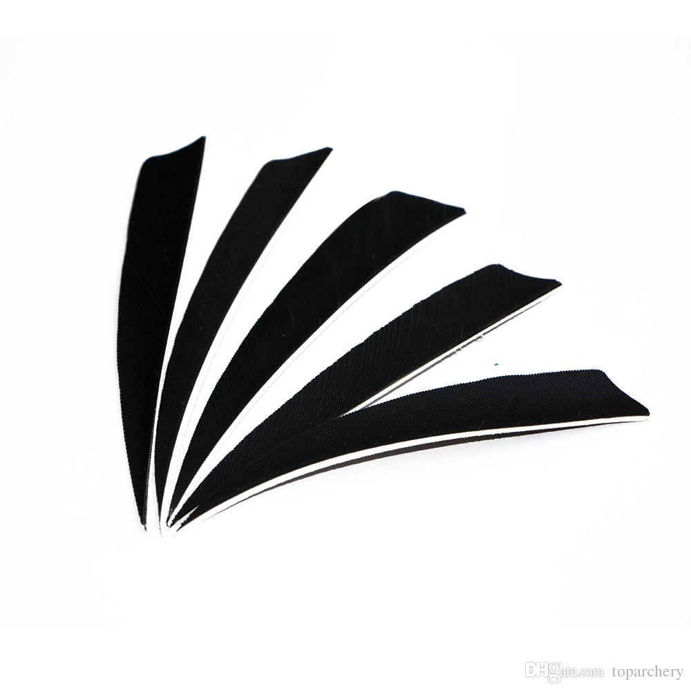 4'' Left Wing Feathers for Glass Fiber Bamboo Wood Archery Arrows Hunting and Shooting Shield Black Fletching
