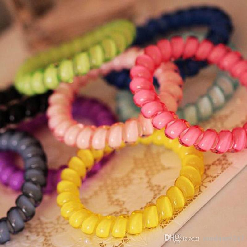 Gorąca Sprzedaż Biżuteria Włosów Kobiety Stroczki Dziewczyna Włosy Ring Rope Elastyczne Włosy Band Candy Kolor Telefon Drut 18 Kolor Mix Zamów