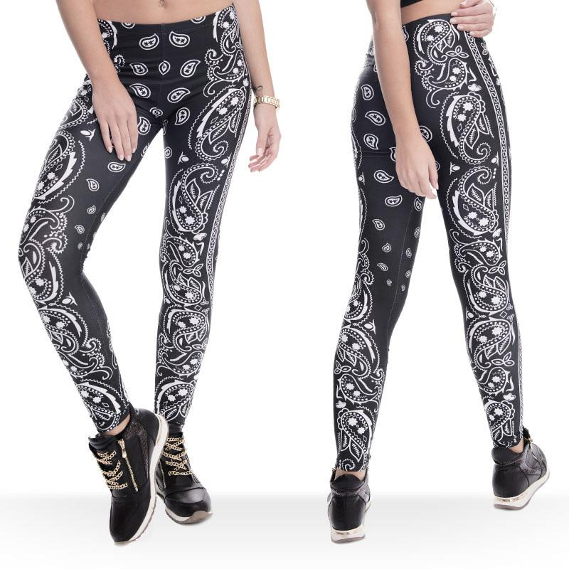 253568e99c40f0 2019 Women Leggings Bandana Graphic Print Lady Skinny Stretchy Gym Yoga  Wear Pants Girls Workout Full Length Black White Soft Trousers J36756 From  Joybeauty ...