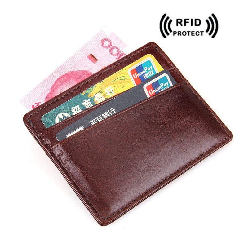 Rfid Blocking Slim Id Card Wallet For Men Red Brown Crazy Horse ...