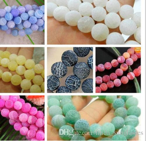 Natural Gemstone 8mm Round Frosted Dream Fire Dragon Veins Agate Gemstone Loose Beads Strand