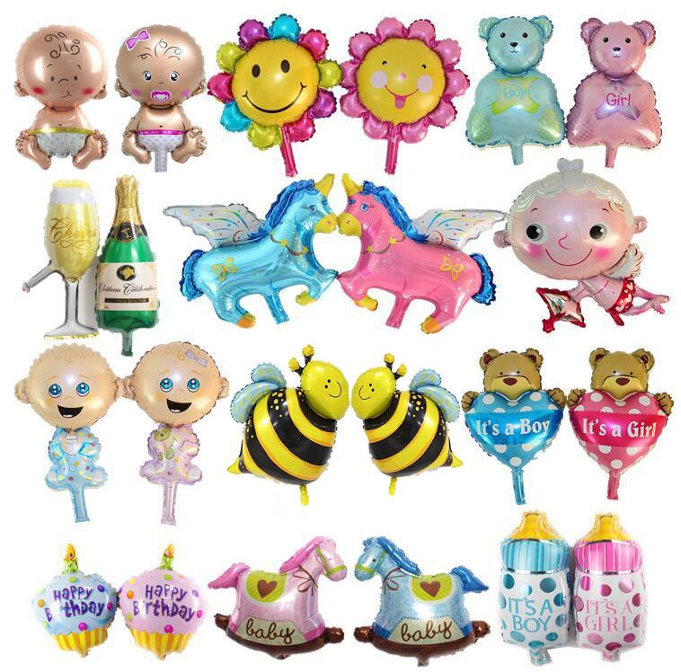 Handred Designs Baby Shower Boys Girls Holiday Decorations Foil Balloons Stroller Helium Balls Birthday Party Supplies Cartoon balloons Free