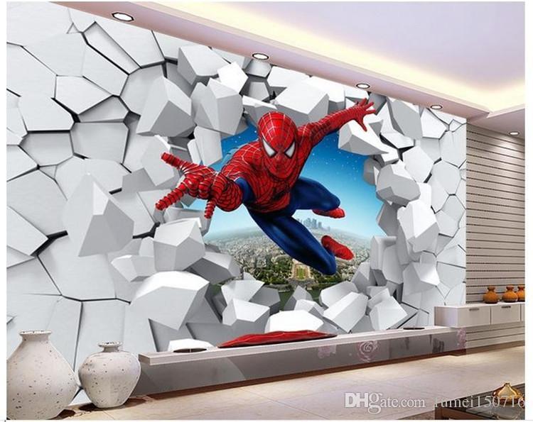 Large murals 3 d spiderman  batman  iron man personality background cartoon wallpaper  wallpaper murals children room. Best Batman Bedroom Wallpaper to Buy   Buy New Batman Bedroom