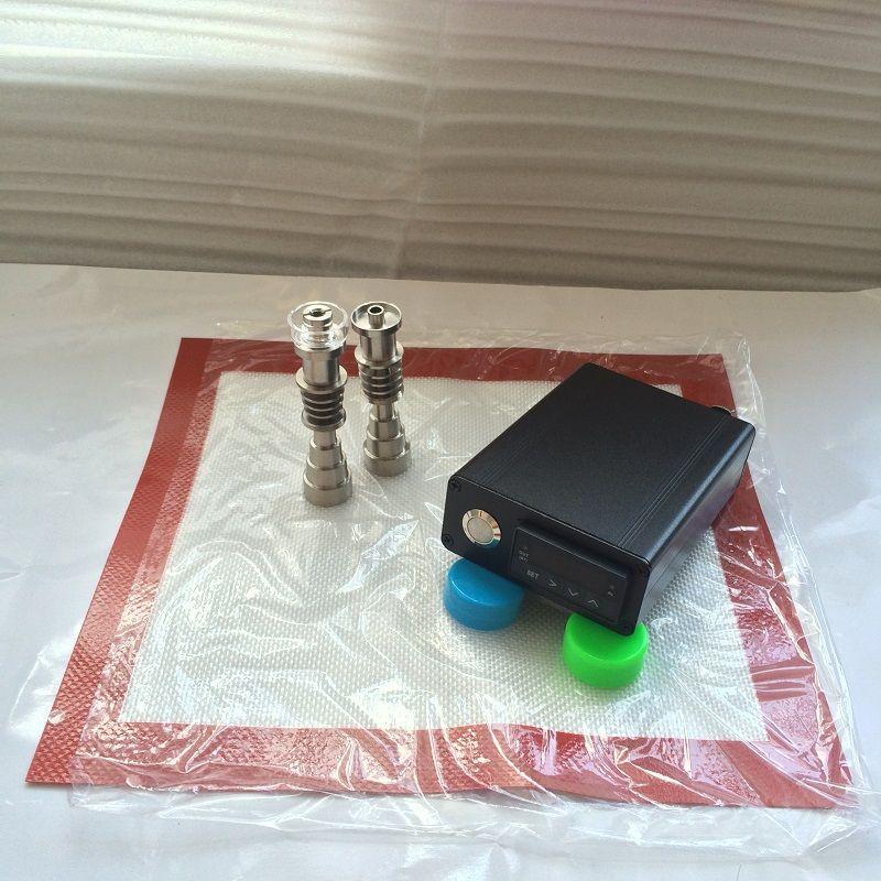 Smart E uñas de cuarzo dab nail dabber box electric dab rig Digital de control de temperatura Wax dry vape con Domeless Tutanium cuarzo banger clavo