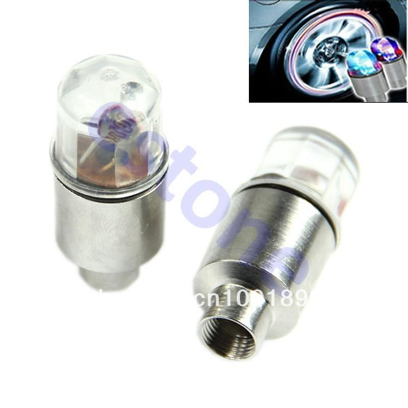 Wholesale- On Sale 1 Pair LED Motor Cycling Bike Bicycle Tire Valve Caps Neon Spoke Wheel Lights High Quality