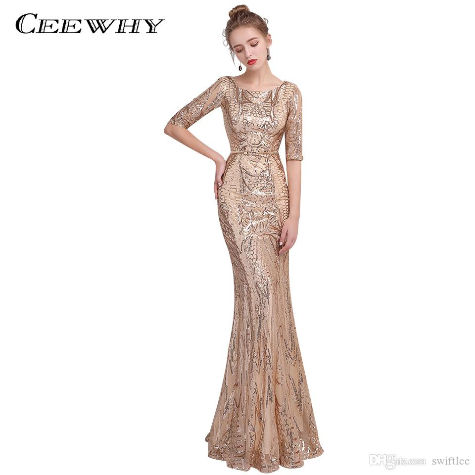 a1706c96246 CEEWHY Luxury Sequined Mermaid Evening Party Long Dresses For Prom Half Sleeve  Evening Dress Elegant Evening Gown Robe De Soiree Evening Dress Malaysia ...