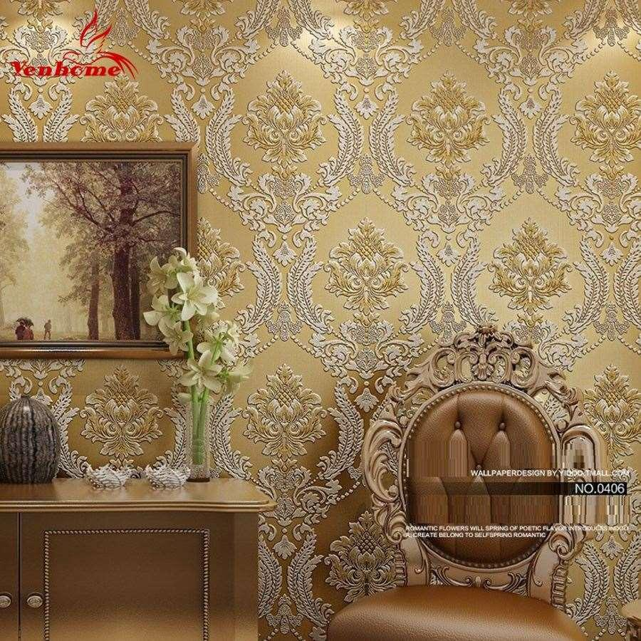 Luxury Classic Wall Paper Home Decor Background Wall Damask Wallpaper  Golden Floral Wallcovering 3d Velvet Wallpaper Living Room Backgrounds For  Wallpaper ...