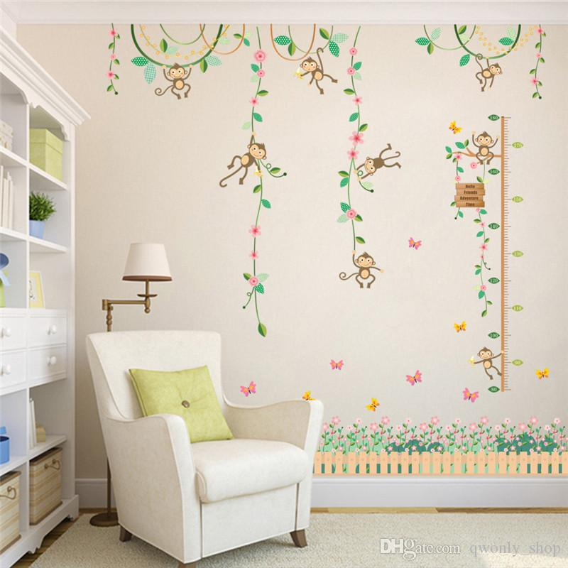 monkeys height measure wall stickers for kids rooms butterfly garden
