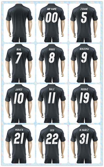 customized uniforms kit 2017 2018 real madrid soccer jersey 7 ronaldo 11 bale 8 kroos 10 james 9 benzema third away dark blue jerseys ronaldo bale rua