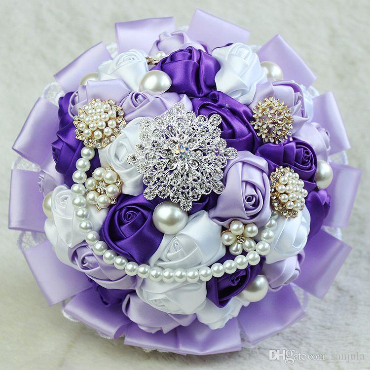 Sparkly Beaded Pearls Handmade Wedding Bouquet Luxurious Bridal Bouquets Foam De Mariage Accessories Centerpieces Without