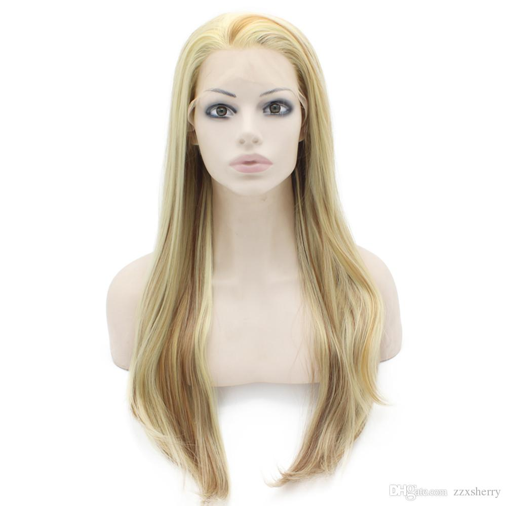 """24"""" Long Blonde Auburn Mix Silky Straight Half Hand Tied Heat Resistant Synthetic Fiber Lace Front Fashion Wig Natural S02"""