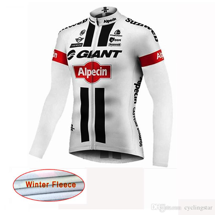 Giant Men's Winter Thermal Fleece Cycling Jersey Long Sleeve Tour De France bicycle shirt Bike Clothing ropa Ciclismo Invierno C1002