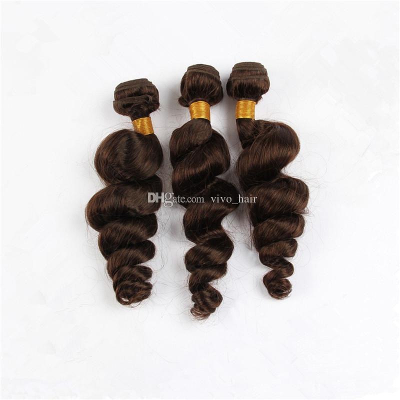 Medium/Light Brown Peruvian Loose Wave Virgin Hair 3 Bundles Color #4 Chestnut Brown Human Hair Weaves Extensions