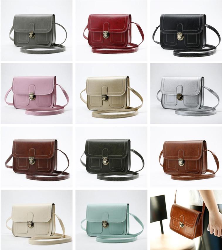 Vintage Flap Kadınlar Omuz Çantaları Lady Kızlar Telefon Kamera Küçük Çanta Çapraz Vücut Messenger Çanta 11 Renkler 16 * 20 * 7 cm