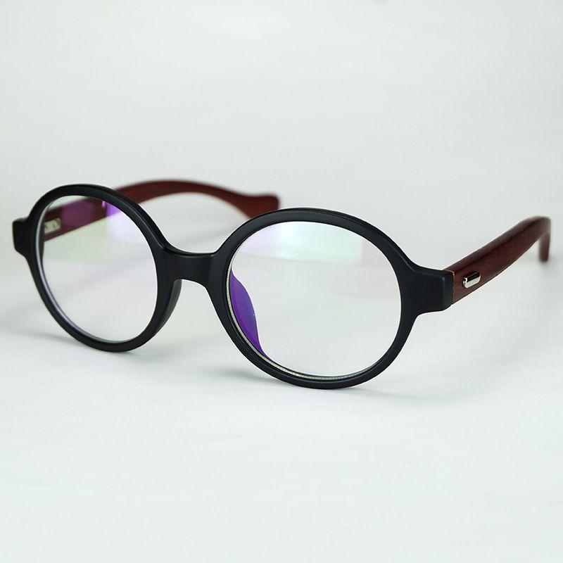 a47810b416 Nerd Round Frame Eyeglasses With Clear Lenses Natural Wood Temples Retro  Design For Women And Men Cheap Wholesale Glasses Custom Eyeglass Frames  Designer ...
