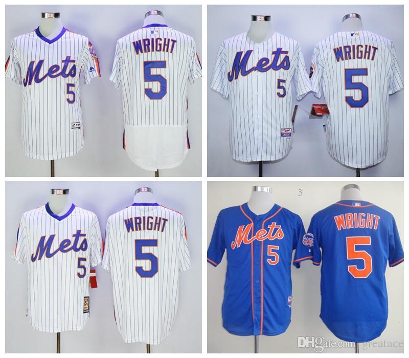 bc5e0247b9ab0 Compre Nueva York Mets 5 David Wright Mlb Jerseys De Béisbol Blanco ...