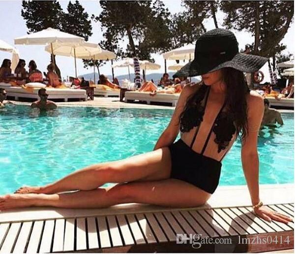 Горячие летний стиль кружева боди рукавов холтер женщин комбинезон Комбинезон комбинезон S-L сексуальная одежда черный комбинезон