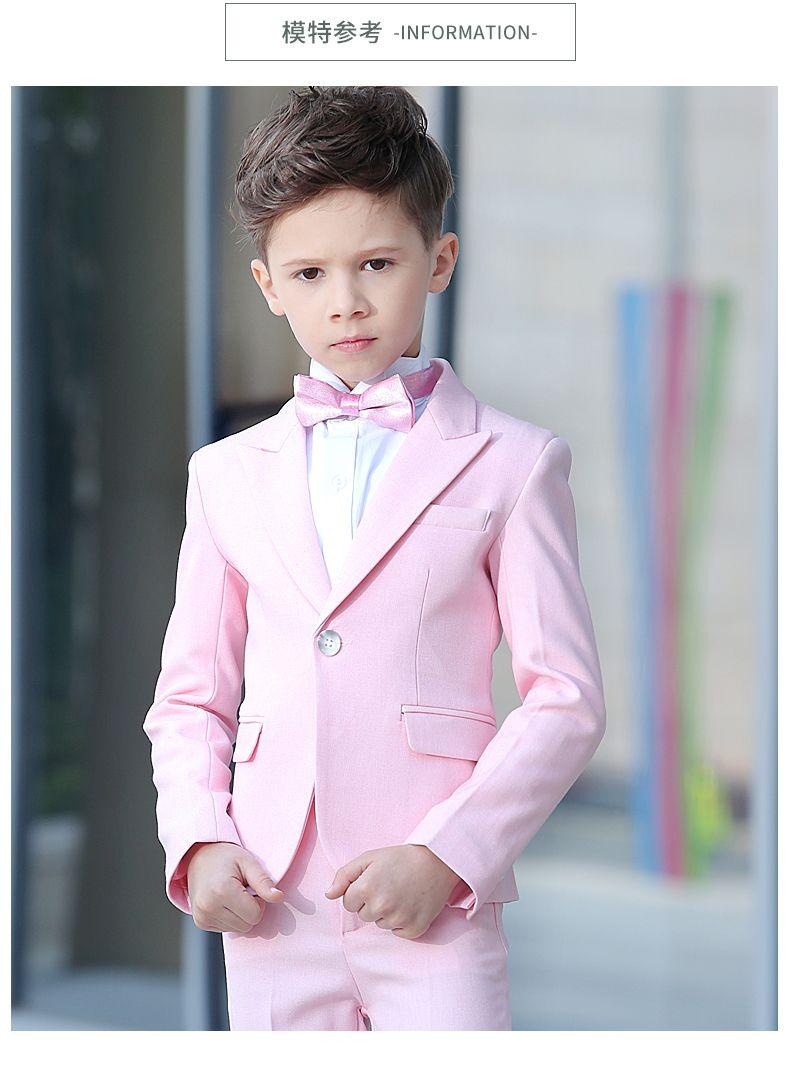 Pink kids boy wedding suits pink solid toddler formal boy - Taufmode junge ...