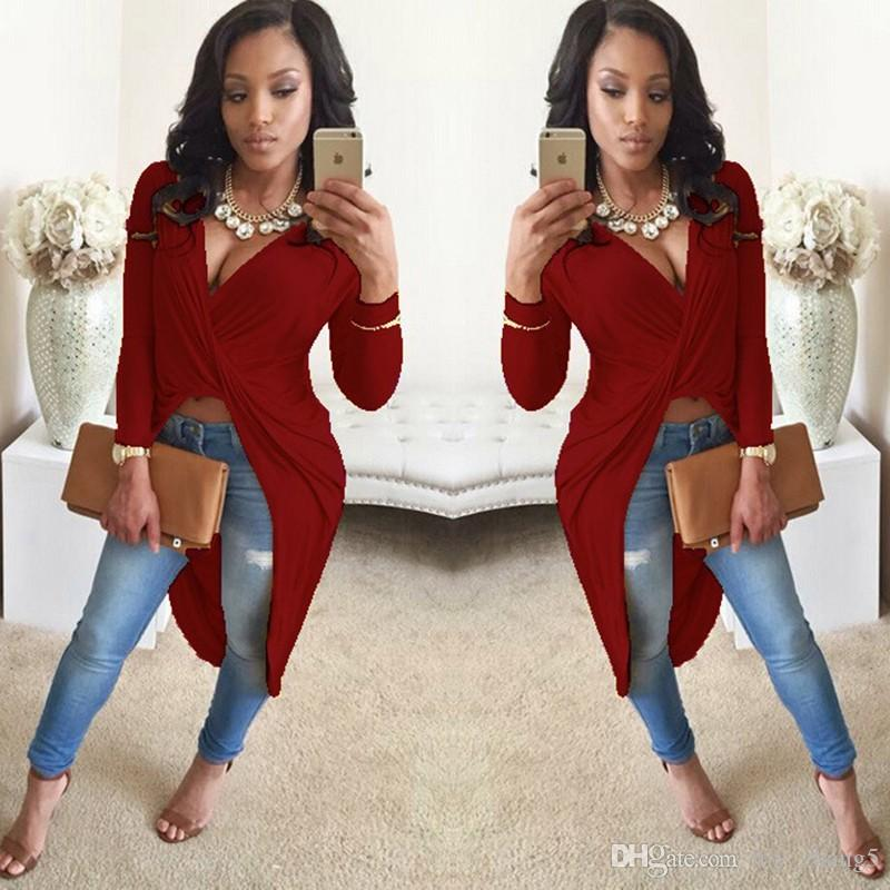 Wholesale-Deep V Neck Long Sleeve Front Crossed Party Dresses Asymmetrical Sexy Bodycon Cotton Blend T Shirt Dress