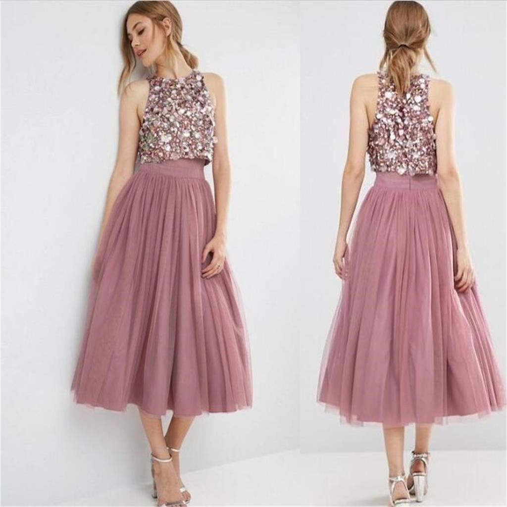 2018 vintage dos piezas vestidos de dama de honor perlas de lentejuelas top de tul de longitud de té vestido de regreso a casa vestidos de fiesta cortos