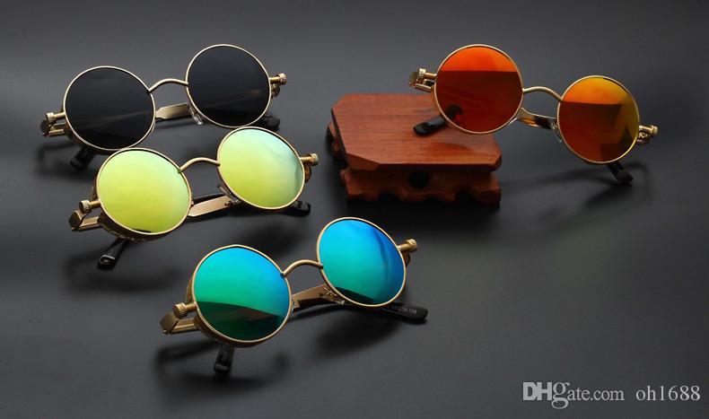 Neue Runde Metall Sonnenbrille Steampunk Männer Frauen Mode Gläser Marke Designer Retro Vintage Sonnenbrille UV400 objektiv