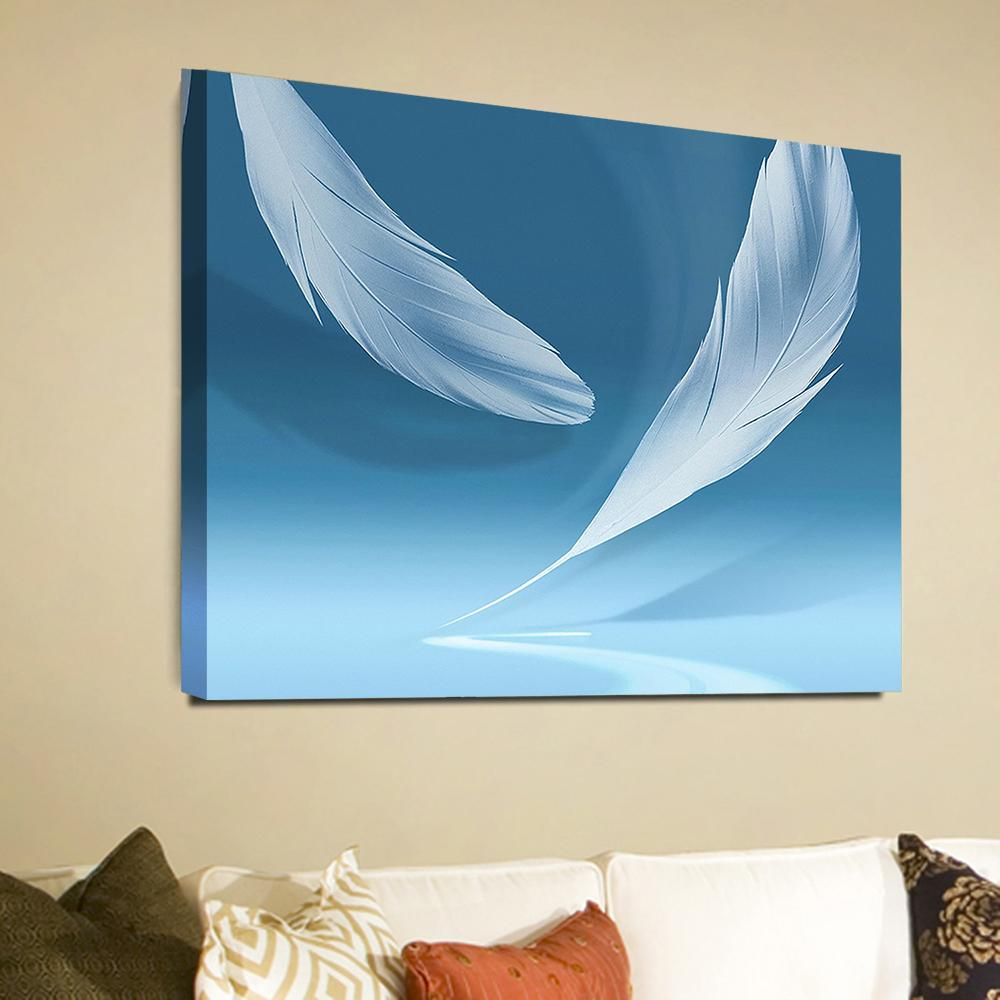 2019 Modern White Feather Blue Photo Print Canvas Painting Home