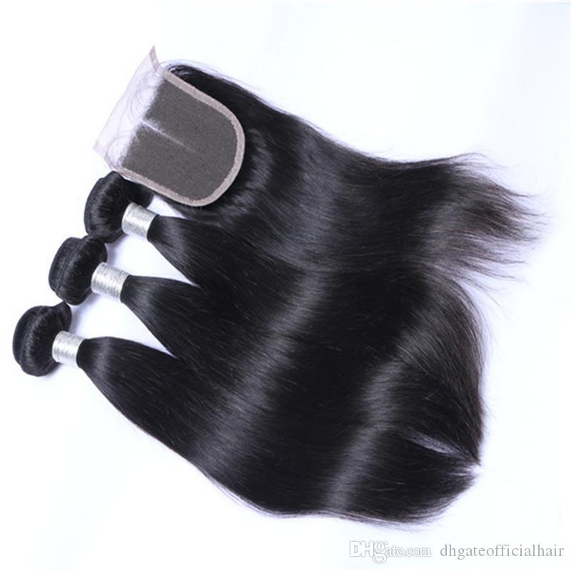 Brasilianisches malaysisches seidiges gerades Körper-Wellen-lose Wellen-Menschenhaar-Extensions 3 Bündel Menschenhaar-Bündel peruanisches Haar spinnt Schließung