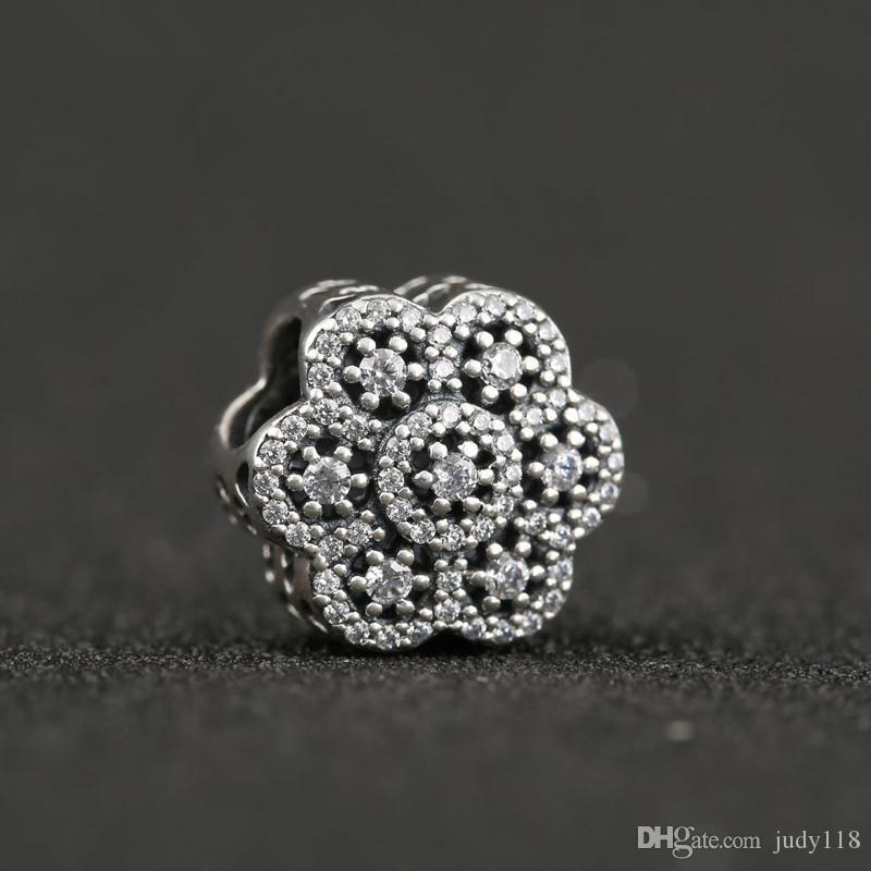 Memnon Jóias 2016 Inverno Natal 925 Sterling Silver Espumante CZ Pave Flor A Céu Aberto Charme Beads Para Fazer Jóias DIY Acessórios
