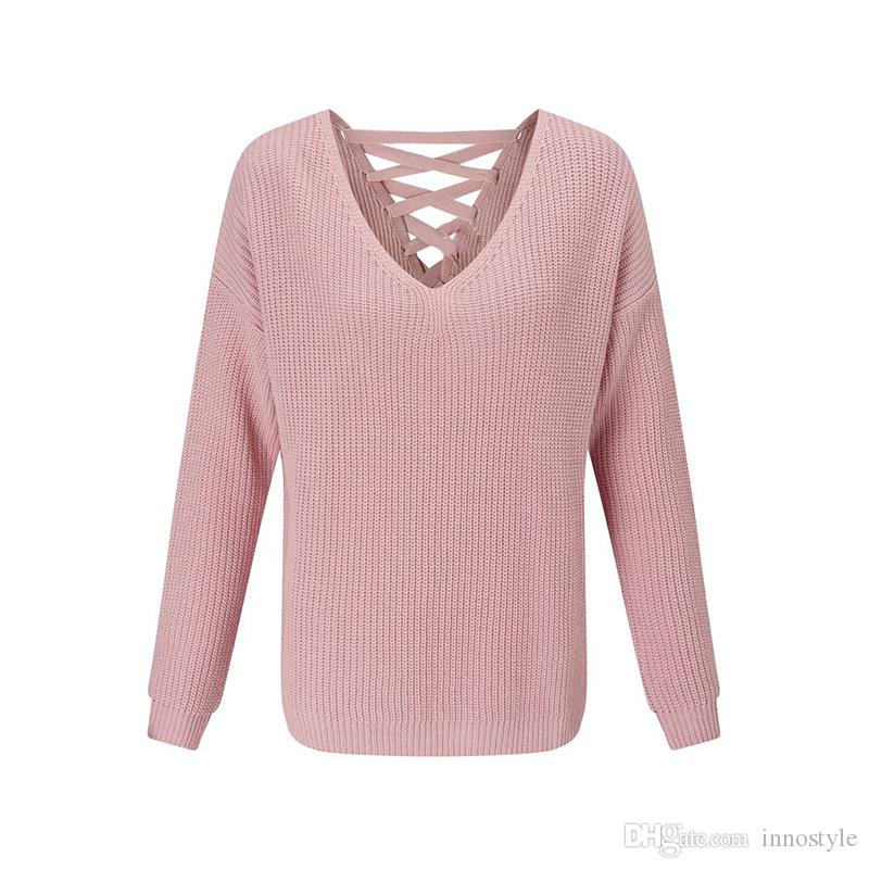 2018 Long Sleeve Lace Up Back V Neck Jumpers Women Autumn Long Sleeve Plus  Size Cute Pink Sweaters Ladies Oversized Plunge Neck Knitted Pullover From  ...