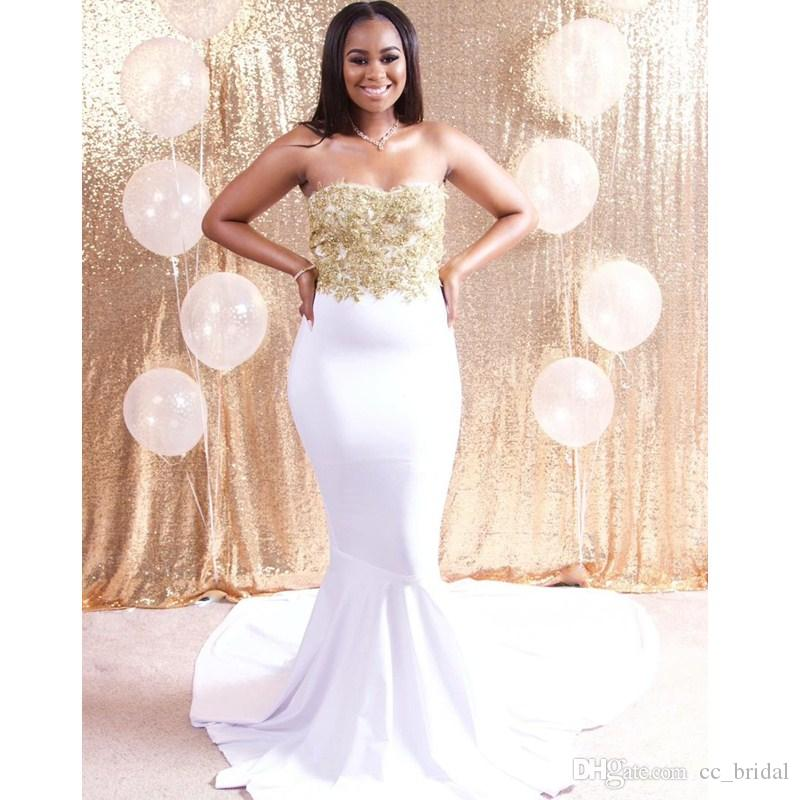 Charming Applique Lace Long Prom Dresses 2017 White And Gold Mermaid