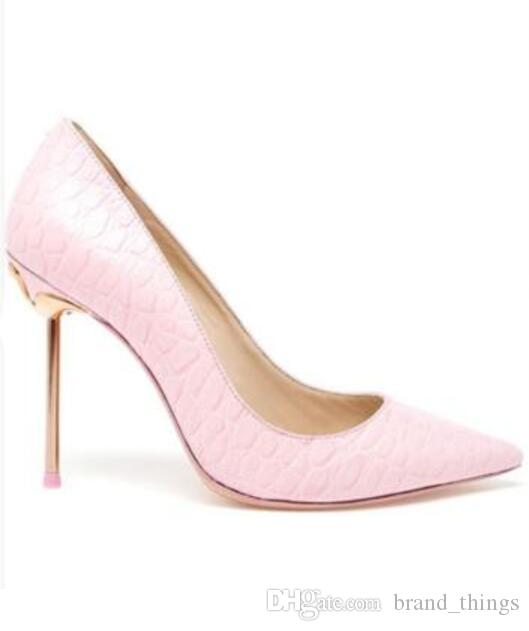 2017 여자 펌프 얇은 발 뒤꿈치 Asakuchi 패션 여성 지적 발가락 펌프 슬립 신발 신발 여성 큰 크기