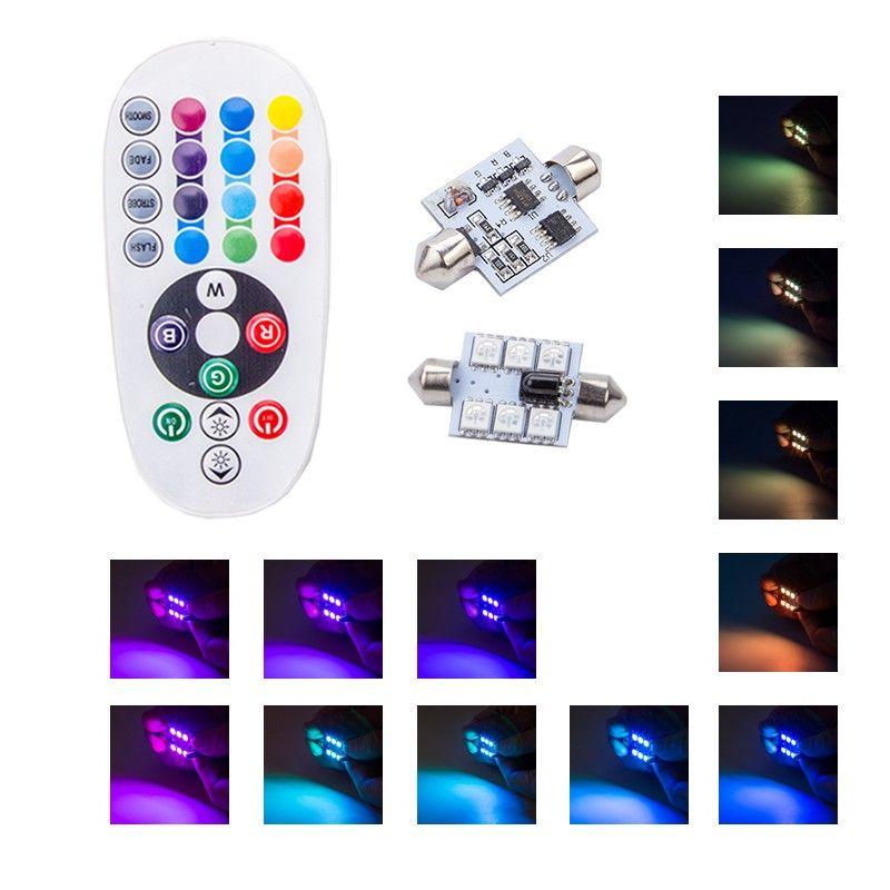 Lampe de lecture de voiture RGBW télécommande 31MM 36MM 39MM 41MM Fête Dôme C5W Led 12V Voiture LED 5050 Intérieur Ampoules De Voiture Lumière Sourse