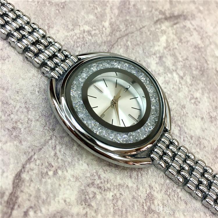 2019 Fashion Style Women Watch Rolling diamonds Lady Watch Steel Bracelet Chain Luxury Quartz High Quality Japan Movement High-grade Freebox