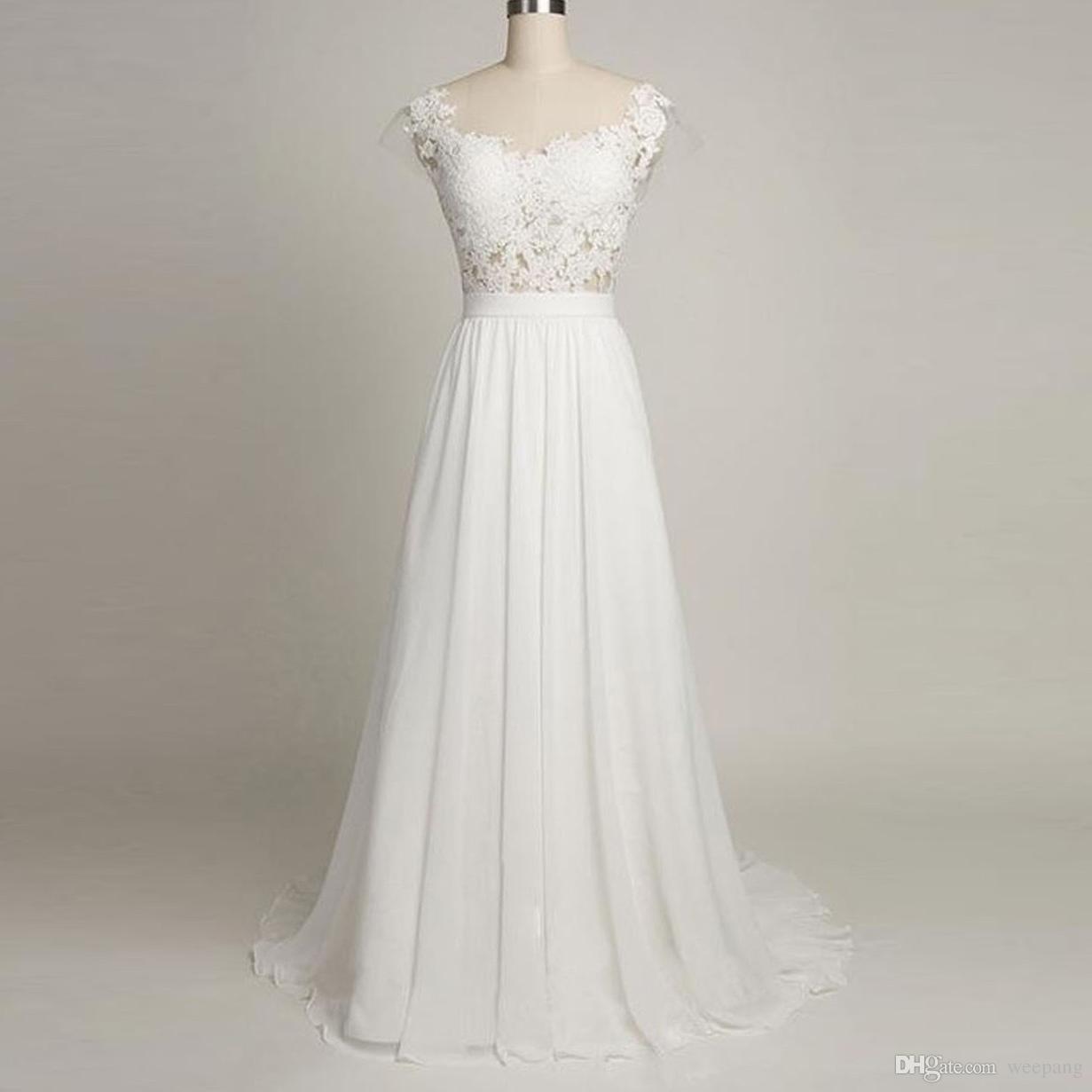 2017 Sommer Elegantes Weißes Hochzeitskleid Eine Linie Sheer Neck Backless  Flügelärmeln Spitze Appliques Long Chiffon Braut Brautkleider