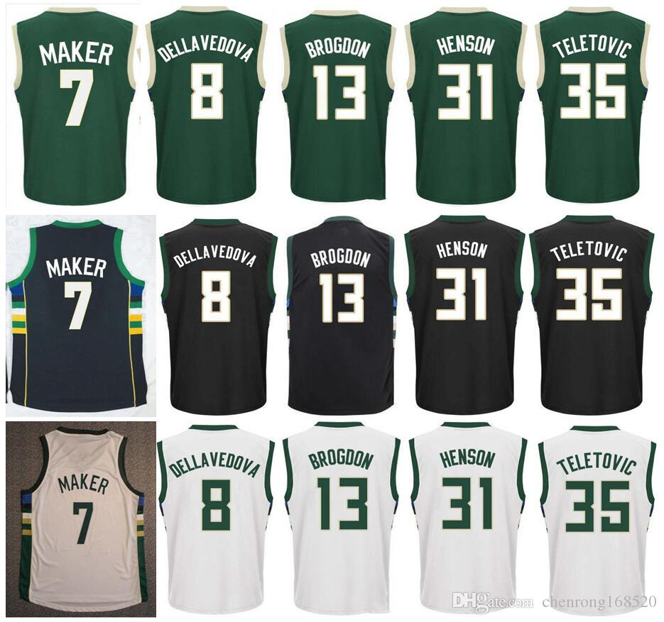 hot sale online ae78d 3f6d6 2017 Screen Printed 13 Malcolm Brogdon Jerseys 7 Thon Maker 8 Matthew  Dellavedova 31 John Henson 35 Mirza Teletovic Basketball Jerseys