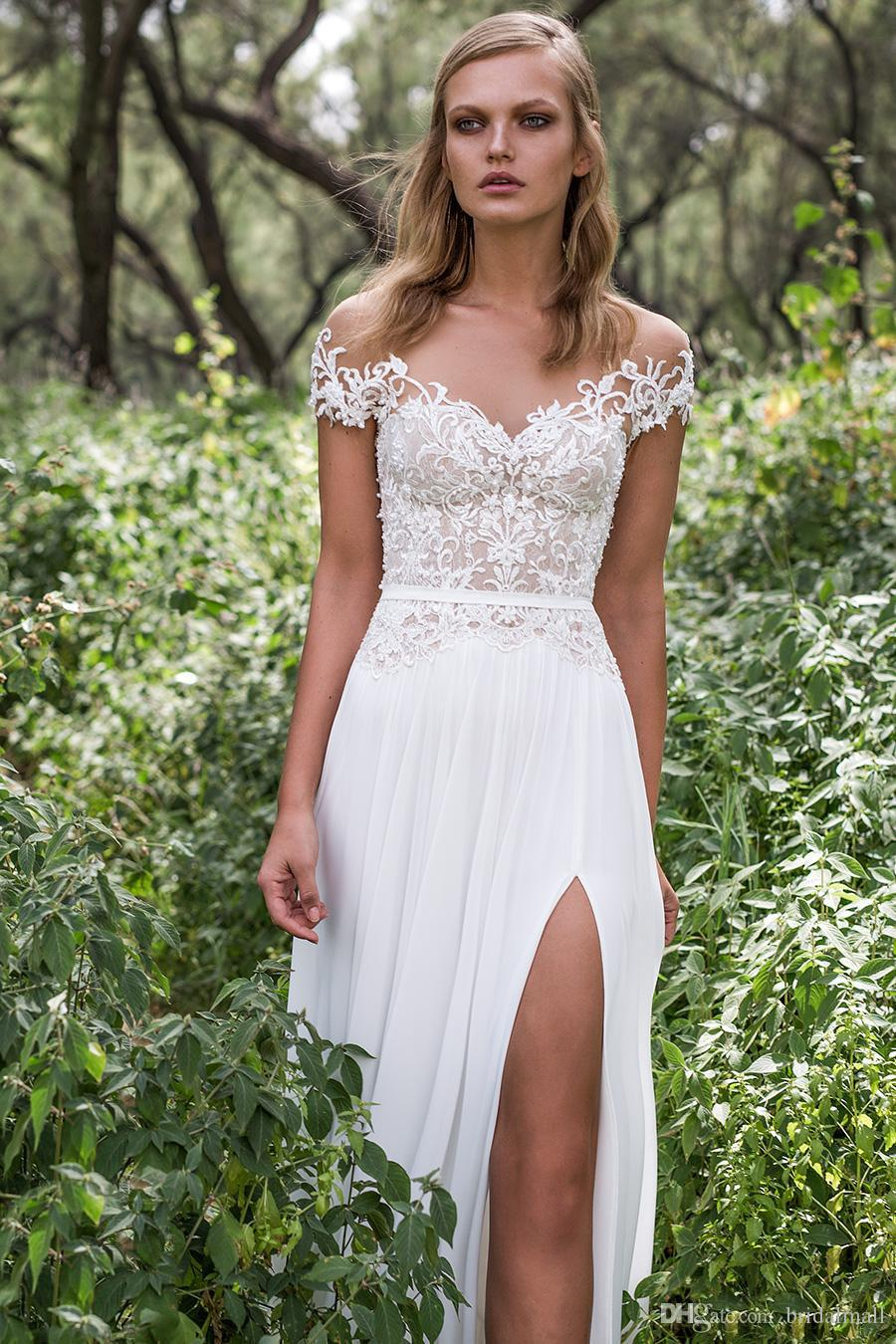 Bohemian Modest Chiffon A Line Wedding Dresses Sheer Neck Cap Sleeves Boho Beach Bridal Dress Sexy High Split Country Wedding Gowns Vestidos