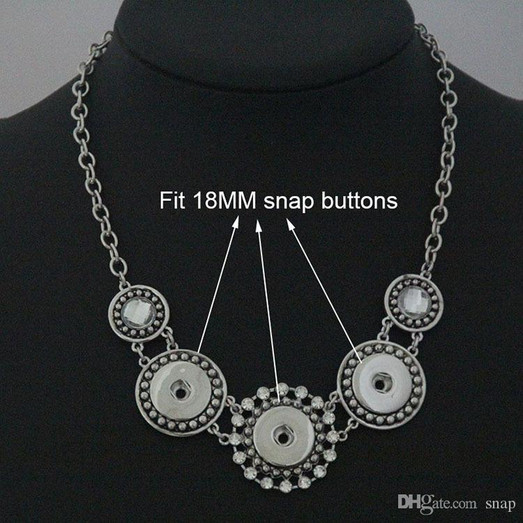 Wholesale exaggeration Geometric patterns snap button jewelry snap Necklace chunks fit 18mm 20mm snaps