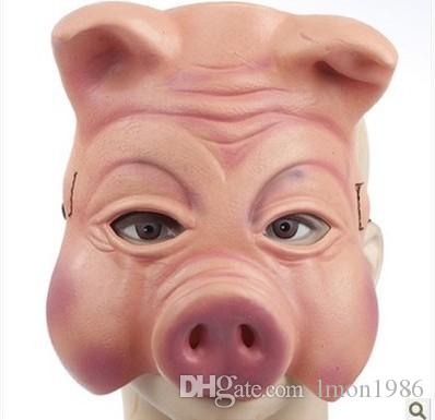 Hot Sale Pig Mask Party Mask Adjustable Suitable For Adult Child Creepy Pig Half Mask Animal Halloween Costumes Latex Rubber free shipping
