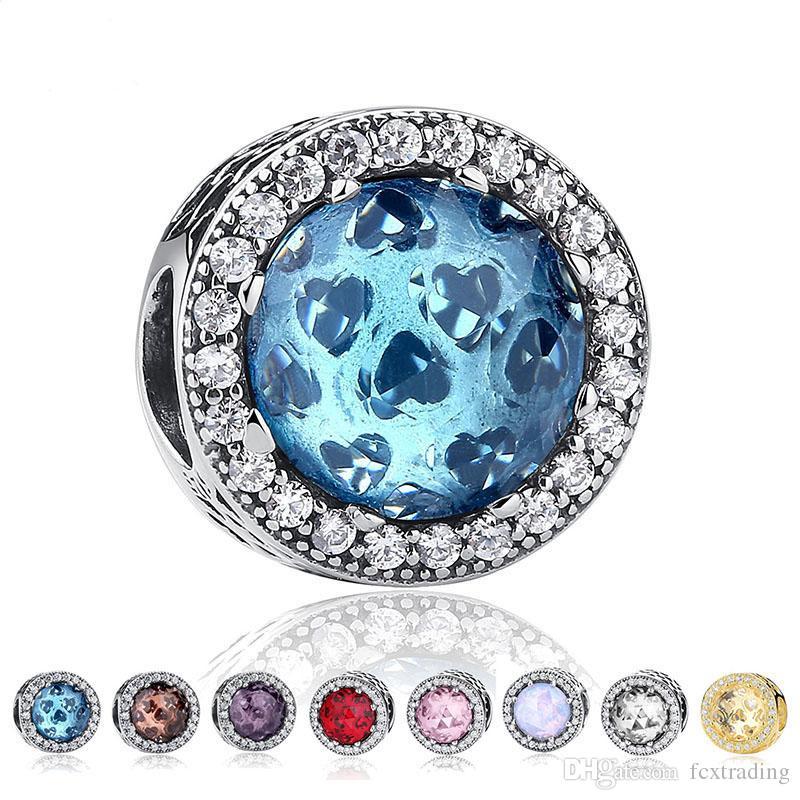 Authentique réel S925 Sterling Argent Cubique Zircone Européenne Charme Perles Fit Pour Chaîne Collier Bracelet Diy Bijoux De Mode Accessoires