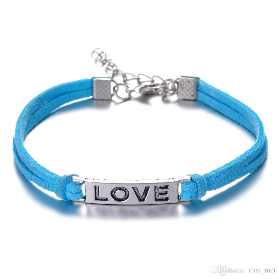 New arrival Fashion simple horizontal bar love alloy hand-woven bracelet FB249 a Charm Bracelets