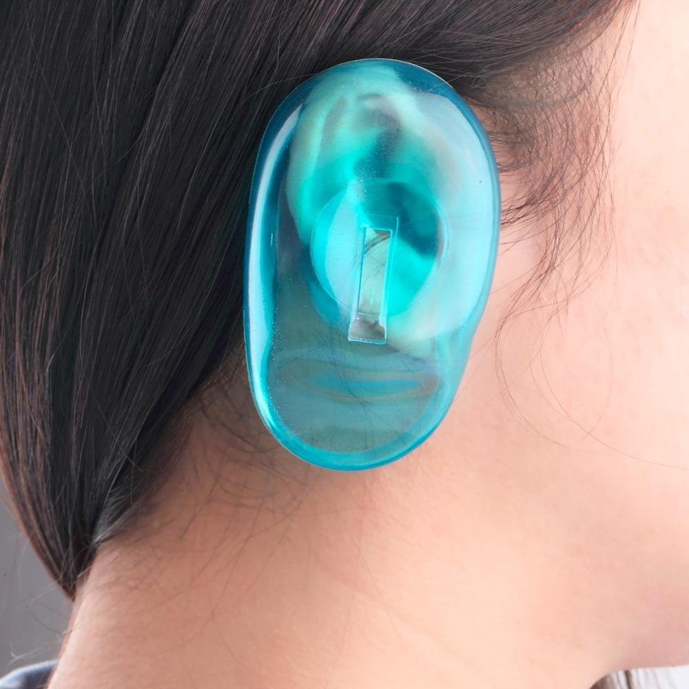 Clear Silicone Ear Cover Hair Dye Shield Protect Salon Color Blue ...