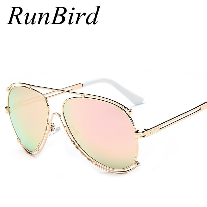 Runbird Sunglasses Women Rose Pink Gold Frame Mens Openwork Hollow ...