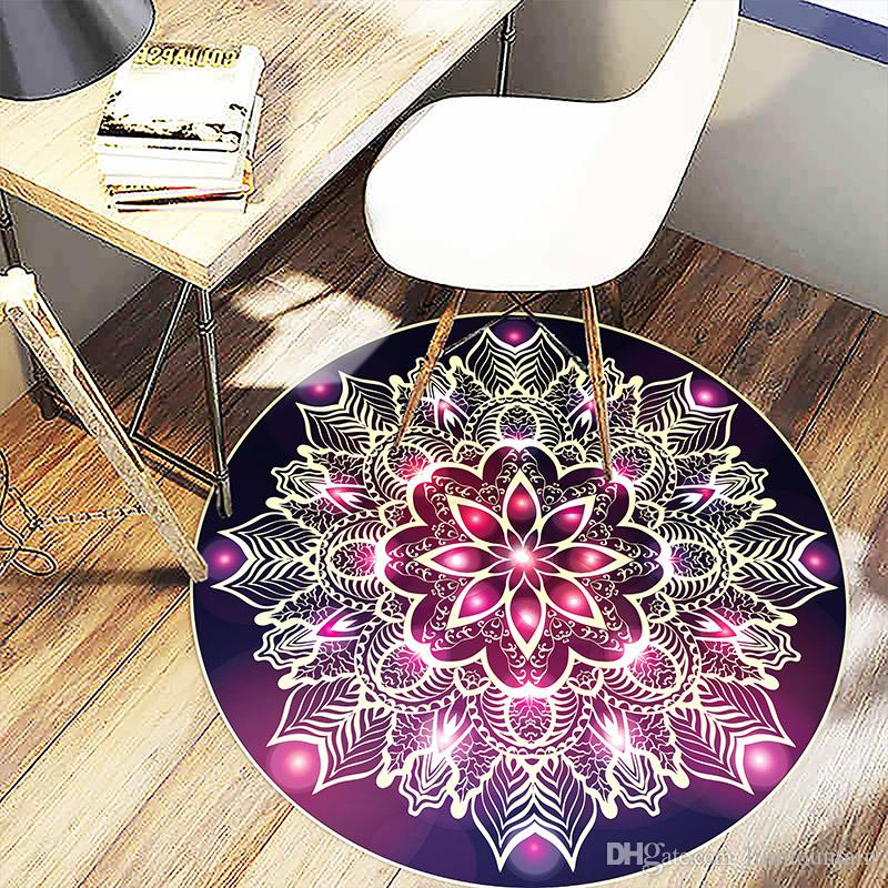 8585cm Bohemian Style Round Carpets Bedroom Living Room Coffee Table Mat Computer Chairs Hanging Basket Mats Bedside Blanket Carpet Tile Installation