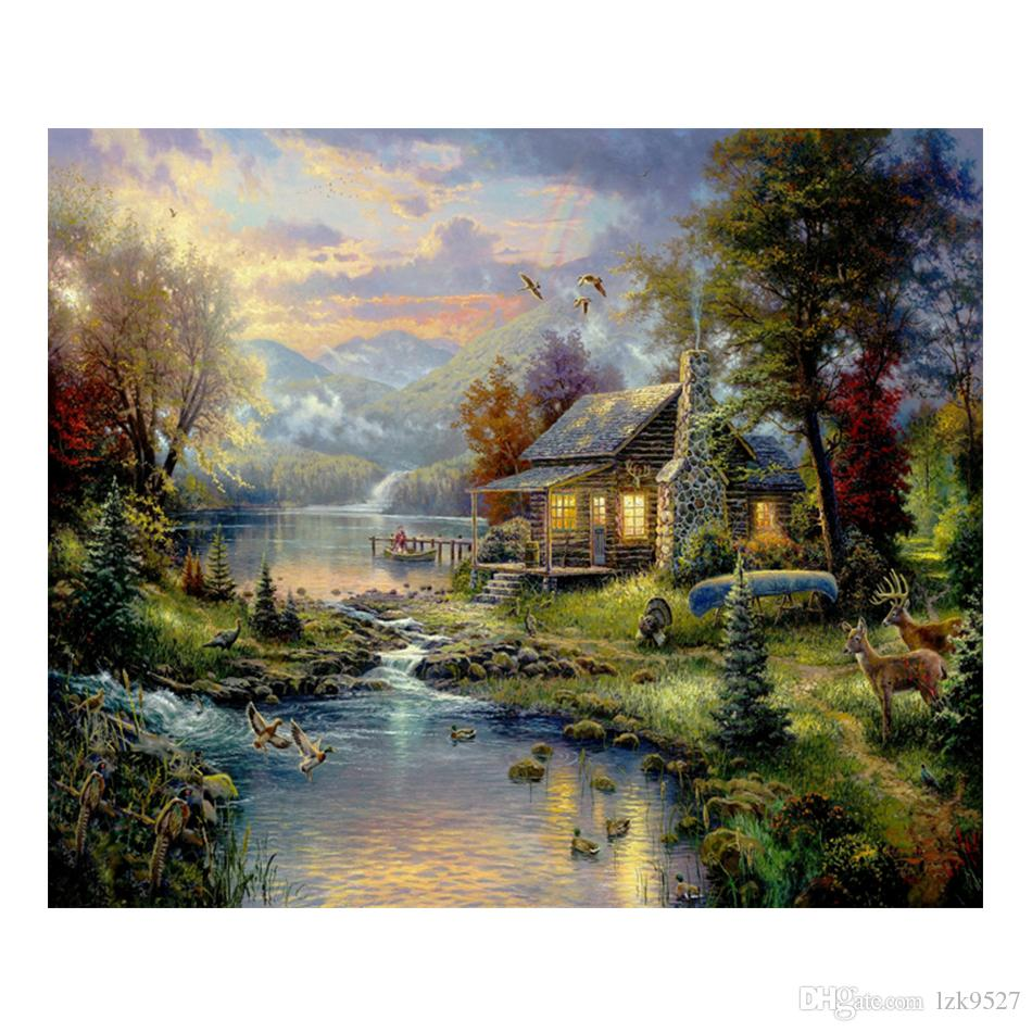 Thomas Kinkade Landscape Oil Painting Prints on Canvas Wall Art Picture for Living Room Home Decorations Unframed HD-12041