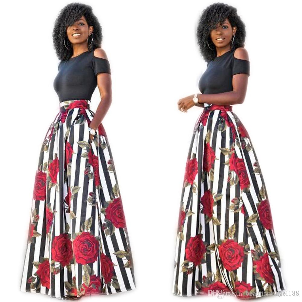 66e1335cca New Two Pieces Casual Women Maxi Dresses Short Sleeve Black Top Long  Pattern Floral Dress Vestidos Fashion Dress Short Dress From  Beautifulangel188