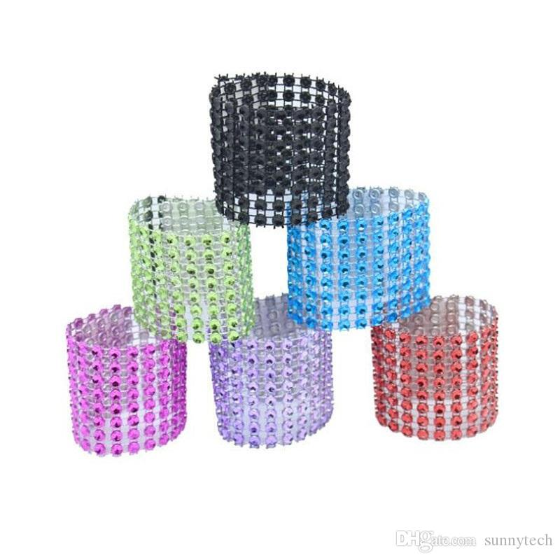 8 Row Mesh Bow Covers With Closure Bling Napkin Ring Diamond Serviette Holder Rhinestone Chair Sashes Bows ZA4660