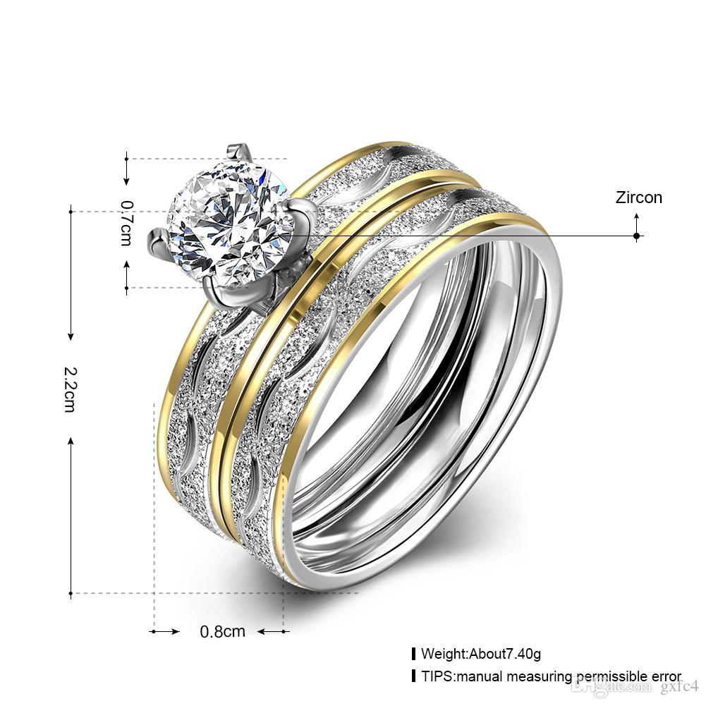 حار 316l الفولاذ المقاوم للصدأ تشيكوسلوفاكيا الماس مزدوجة الاصبع خاتم الخطوبة حجم 6 # 7 # 8 # 9 # الأزياء والمجوهرات للنساء أعلى جودة