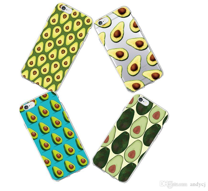 on sale 9eb38 8c3e7 Cute Avocado Food Pattern Soft Phone Case For iPhone 6 6S 6Plus 5 5S SE 5C  7 7Plus 4 SAMSUNG