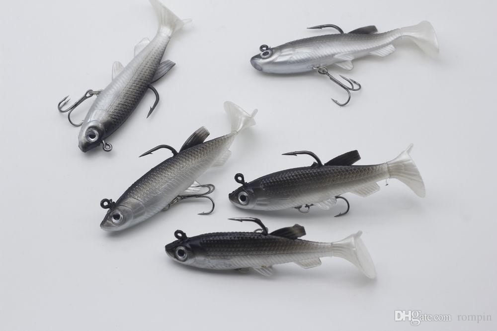 Rompin 5 adet / grup Gri Yumuşak Cazibesi 8 cm 13g Wobblers Yapay Yem Silikon Balıkçılık Lures Levrek Sazan Balıkçılık Kurşun Balık Jig